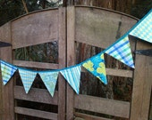Bunting Flags- Lime Green to Aqua Blue -Perfect for Parties, Home, Weddings or Photo Prop. Size Large