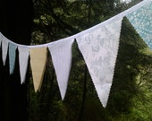 Bunting Flags Pale Grey, Aqua, Yellow, White Fabric Garland Party, Wedding, Nursery, photo prop