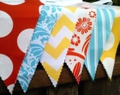 Fabric Bunting Flags Yellow Chevron, Red Dots, Aqua Stripes