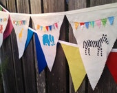 Fabric Bunting Flags, Birthday Banner, Party Decoration, pennant flags Safari Animals Kids Birthday Party Animals Decoration