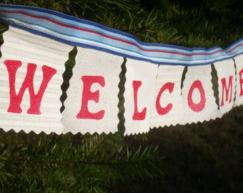 Welcome Home Mini Banner- red white blue