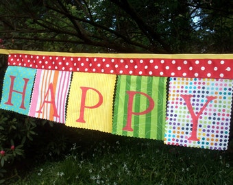 Fabric Birthday Banner, Super Circus Party Bunting Flags Decoration, Happy Birthday Party Banner Circus Decoration Birthday Sign, Kids Party