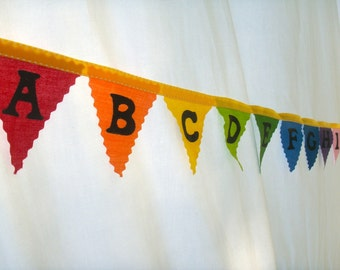 Alphabet Bunting Flags, Fabric Bunting Banner, Nursery Decor, Kids Room Garland, Educational Tool, ABC's rainbow banner School Room Supplies