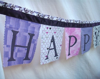 Birthday Banner Party Decoration Peace Bunting in Purple, Platinum and grey fabrics Happy Birthday Decoration Party Banner