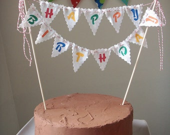 Cake Bunting Happy Birthday custom colored hand painted fabric flags cake topper
