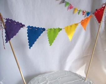 Cake Bunting Fabric Bunting Flags, Cake Topper, Rainbow Flags Party Banner Birthday Decoration