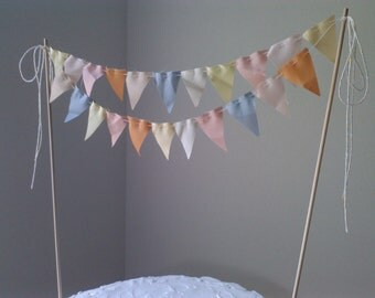 Cake Bunting Flags Wedding Cake Topper -Spring- pale yellow, melon, dove grey, pink