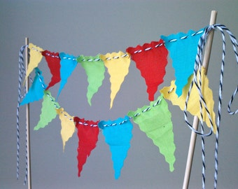 Cake Bunting Pennant Flags Topper Birthday Party Brights