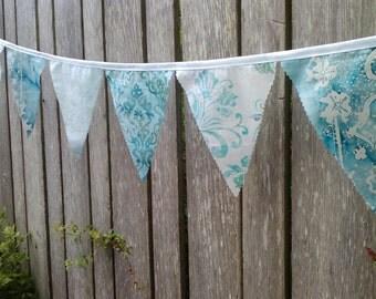 Bunting Flags Wedding Decoration Light Aqua and White Batik Fabric