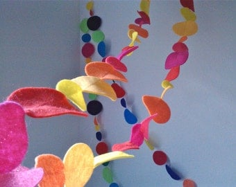 Felt Garland Dots Multi Colored 8 FEET Decoration by BooBahBlue