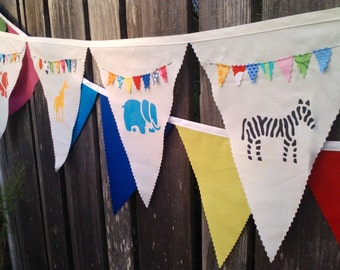 Fabric Bunting Banner Flags, Birthday Banner, Party Decoration, pennant flags Safari Animals Kids Birthday Party Animals Decoration