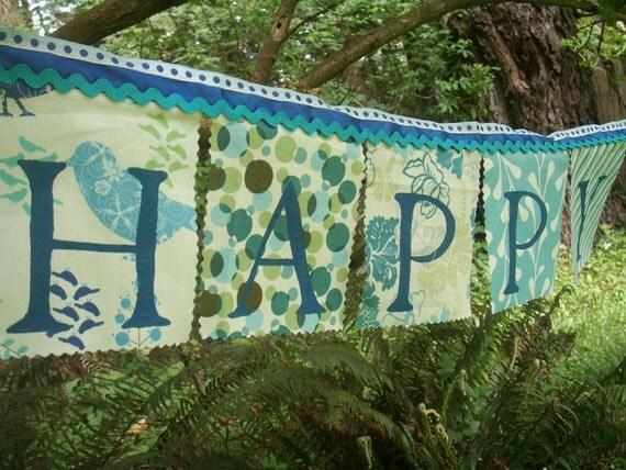 Happy Birthday Banner- shades of blue