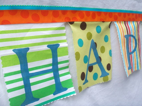 Birthday Banner Whimsical Bunting in Aqua Blue, Orange, Lime Green