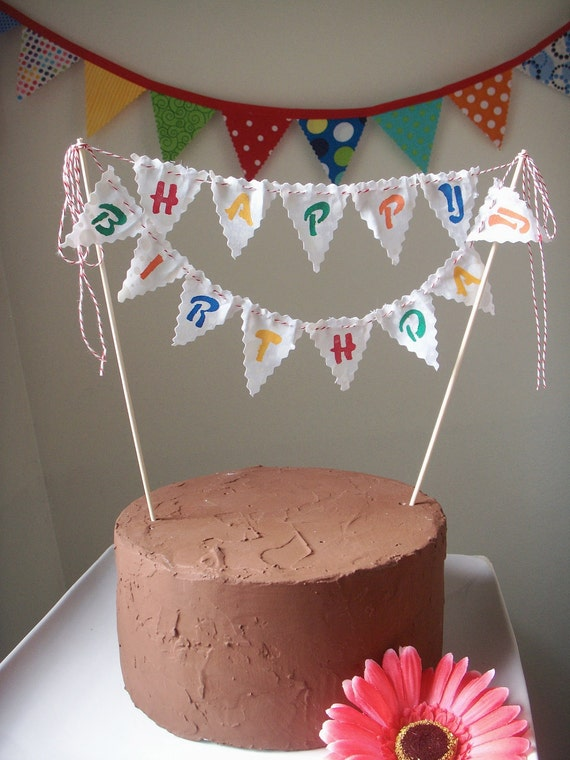 Cake Bunting Happy Birthday Custom Colored Hand Painted Fabric
