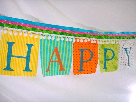 Birthday Banner Whimsical Festive Happy Birthday with white pom poms