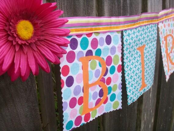 Birthday Banner Whimsical Fuchsia Flower