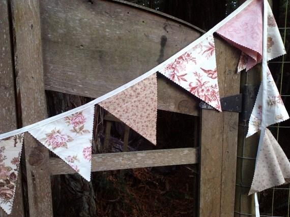 Bunting Flags Romantic Vintage Florals Wedding, home decor, photo prop, nursery