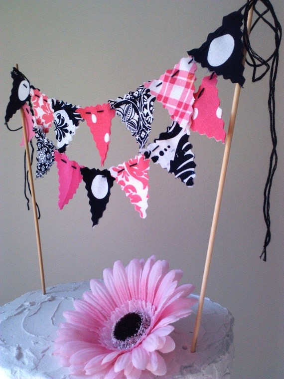 Cake Bunting Hot Pink and Black cake topper pennant flags