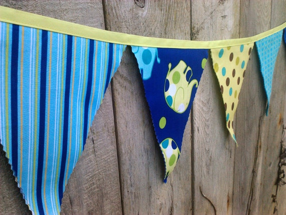 Bunting Flags Turquoise Navy Lime Green Flying Elephants Fabric Pennant Banner