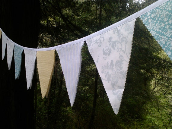 Bunting Flags Pale Grey, Aqua, Yellow, White Fabric Garland Party, Wedding, Nursery, photo prop