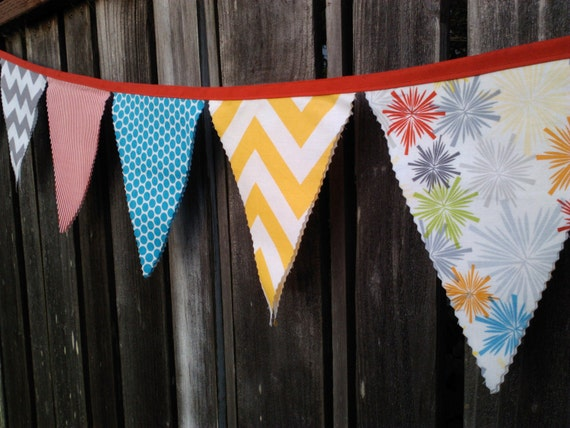 Fabric Bunting Flags Yellow and Grey Chevron, Red Stripes, Fireworks and Turquoise Polka Dots LAST ONE