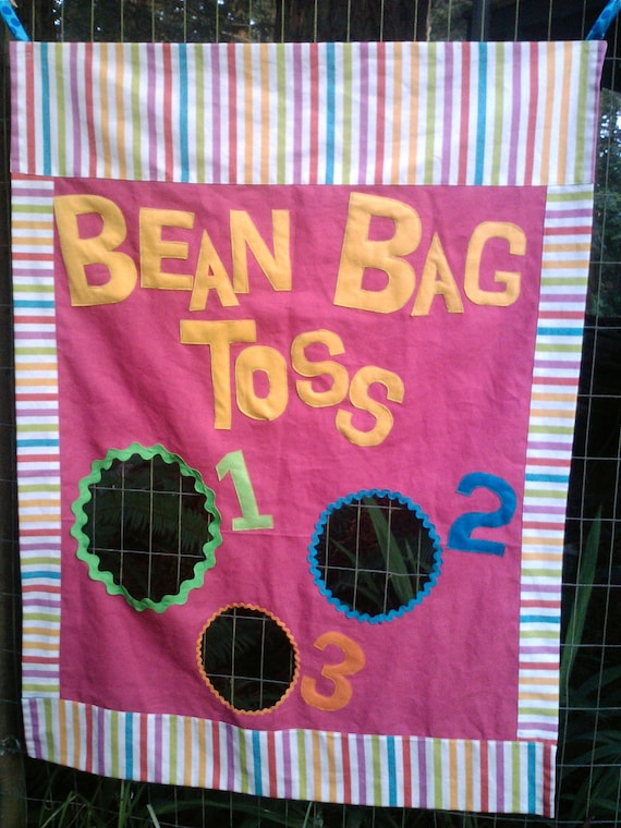 Bean Bag Toss Game in Bright Pink with Yellow, Green Turquoise, Purple