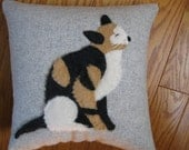 Calico Kitty Cat Pillow...Furry