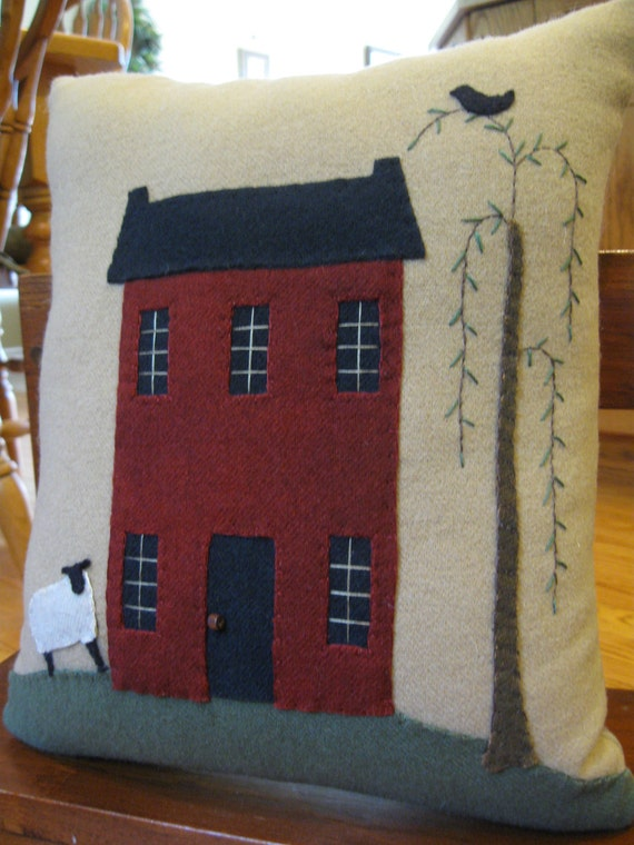 Primitive Wool Applique Willow, Sheep and Saltbox Pillow