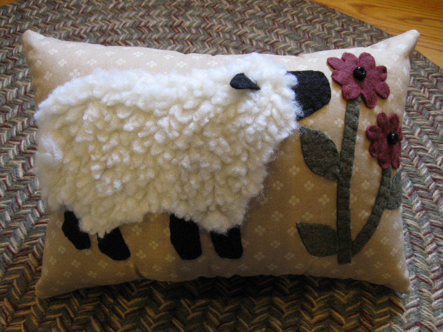 Penny Rug Sheep Pillow Wooly Lamb Smelling Daisies