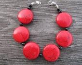 Red Lentil and Black Glass Bead Bracelet