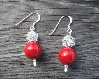 Red Stone and Knotted Ball Earrings