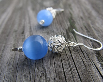Blue Stone and Knotted Ball Earrings