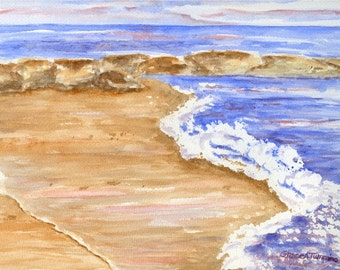 Beach watercolor print, giclee, New England seascape painting, waves crashing on the beach, Cape Cod, beach house gift, ocean waves painting
