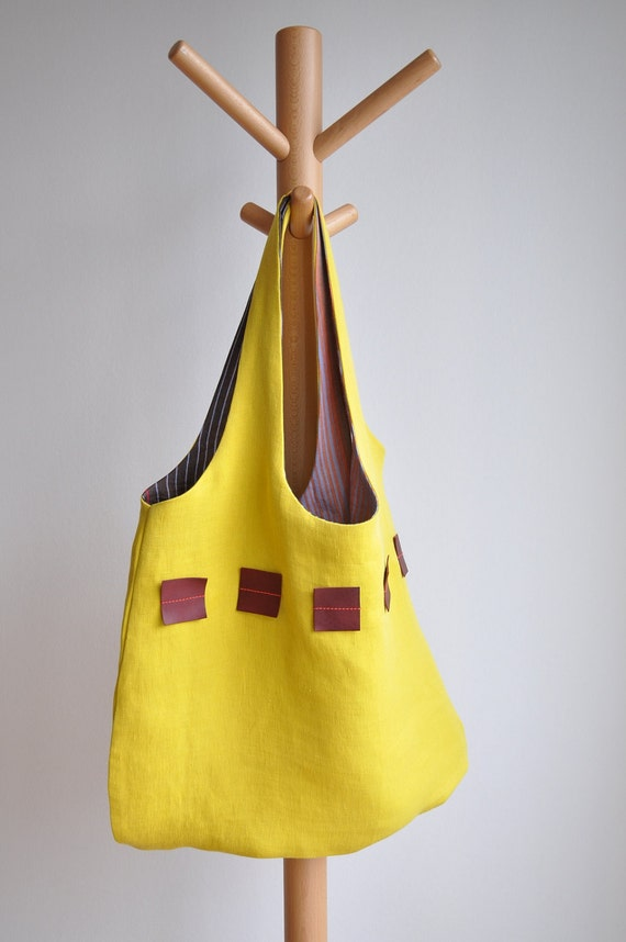 ON SALE - Yellow linen tote with leather squares