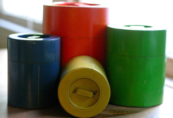 sale retro multi colored metal kitchen canister set