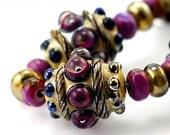 OOAK Upscale Glass Lampwork Beads Handmade for Artisan Jewelry Designers GOLDEN PALACE set