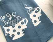 Dish Towel- Dark Blue Linen with White Teacup (Set of 2). Screen Printed Kitchen Accessories from Curry Kay Designs on Etsy