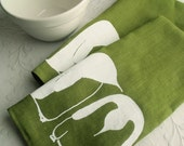 Linen Dish Towel- Deep Green Linen with White Penguins (Set of 2)- Screen Printed Kitchen Accessories from Curry Kay Designs on Etsy
