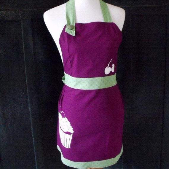 The Lexi Apron- Berry Cupcake. Screen Printed Kitchen Accessories by CurryKayDesigns on Etsy