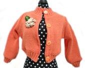 handmade 18 inch doll clothes fit American Girl Dolls ORANGE Sweater w/ Fabric Flower
