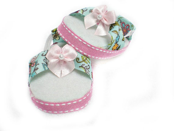 American Girl Doll Clothes -- Aqua & pink floral sandals for 18 inch American Girl doll