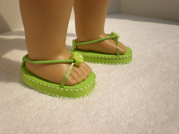 Lime green sandals for 18 inch American Girl doll