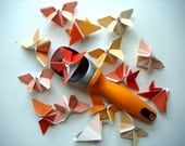 Mini Origami Butterflies in Shades of Tangerine