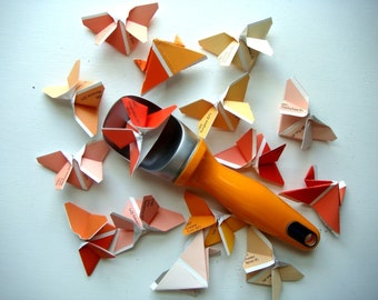 Wedding Confetti 500 Mini Origami Butterflies in Shades of Tangerine