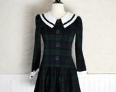 SALE-Vintage Plaid Drop Waist Mini Dress