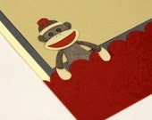 Sock Monkey Birthday Card - READY TO SHIP