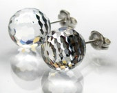 Clear round faceted crystal swarovski sterling silver stud earrings 10mm