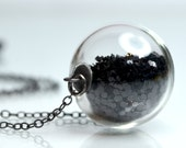 Black glitter necklace in round hand blown glass beads antiqued sterling silver
