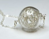 Silver thread in hand blown glass silver plated necklace