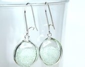 Clear micro beads flat round blown glass sterling silver earrings